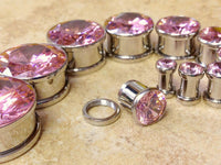 Large Pink CZ Gem Plugs - PAIR