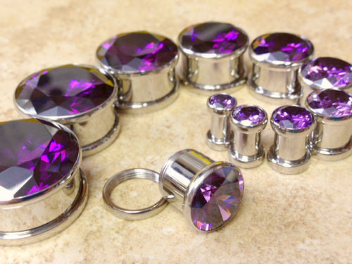 Large Purple CZ Gem Plugs - PAIR