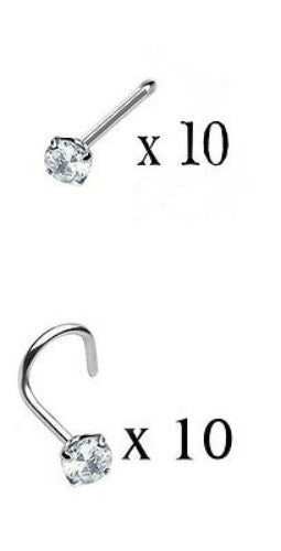 10pcs Prong Set Clear Gem Nose Rings