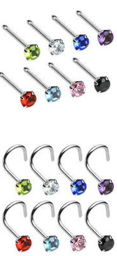 8pcs Prong Set Round Gem Nose Rings