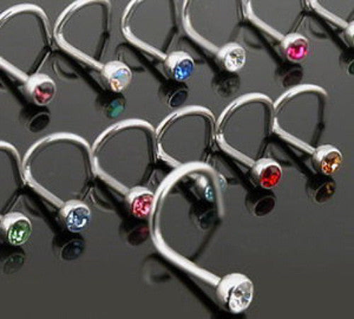9pcs 18g Gem Nose Screws
