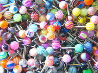 50pc Big Mix UV Ball 316L Surgical Steel Labrets  Monroes Wholesale Body Jewelry