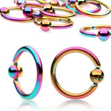 Captive Bead Rings Rainbow Titanium Plated 14g,16g or 18g - Pair