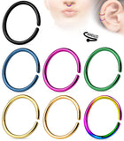 7pcs Titanium Ion Plated Annealed Hoops