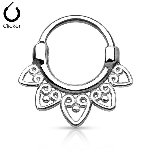 1pc 100% SURGICAL STEEL Tribal Fan Septum Clicker