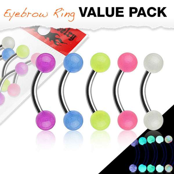 5pc Value Pack Glow in the Dark Acrylic Balls Eyebrow Rings 16g Body Jewelry
