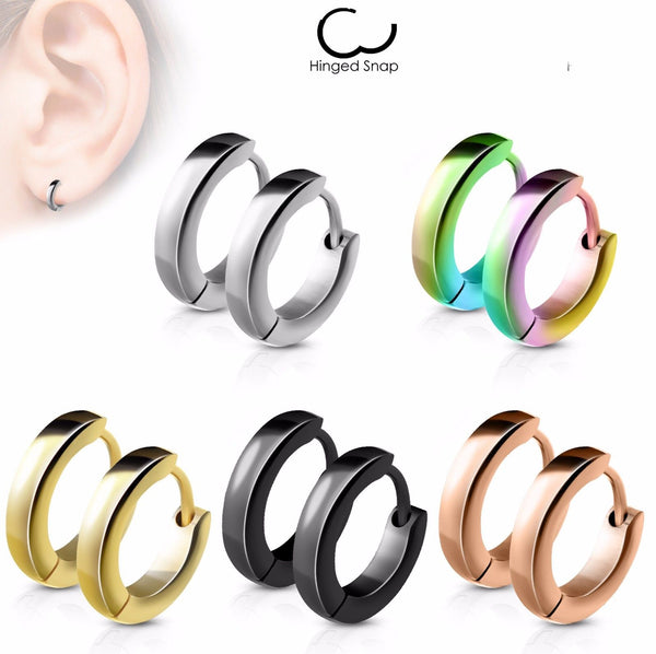Stainless Steel Dome Hoop Huggie 20g Earrings