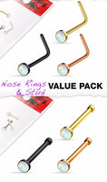 3pcs Value Pack Synthetic Opal Set 20g IP Nose Rings - choose Studs or L-Bend