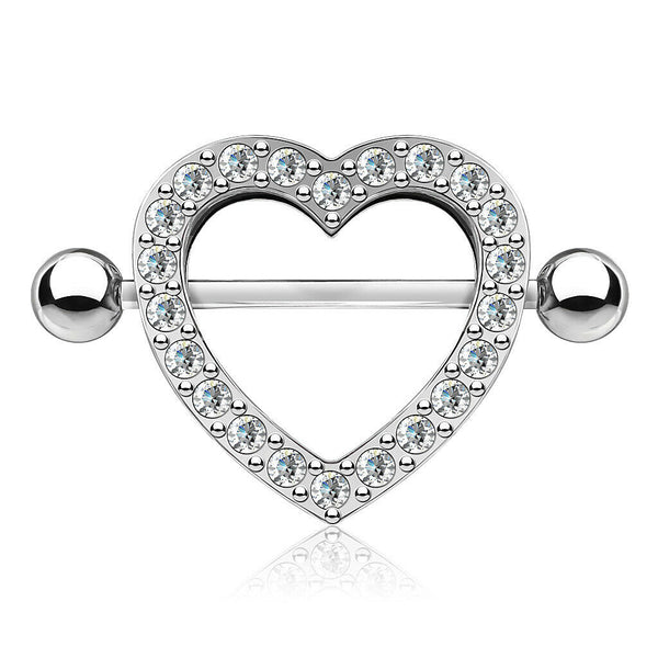 PAIR Gem Paved Heart Nipple Shields Rings Body Jewelry