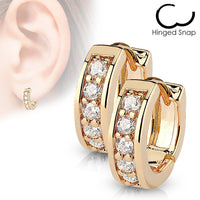 4mm Wide Channel Set CZ Gems Half Circle Hoop Huggie Earrings