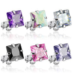 PAIR 316L Surgical Steel Square CZ Gem Stud Earrings