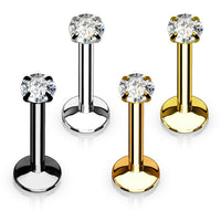 4pc Value Pack Internally Threaded Prong Set Round Gem Ion Plated Labrets