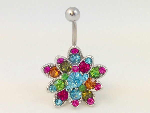 1pc Multicolor Gem Flower Belly Ring