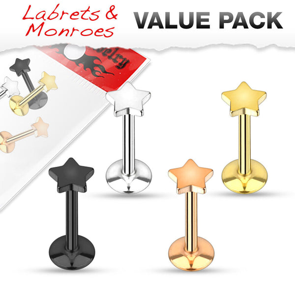 4pc Value Pack Ion Plated Steel Internally Threaded Star Labrets / Monroes
