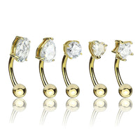 5pc Value Pack Prong Set CZ Gem Shapes Eyebrow Rings Curved Barbells 316L Steel