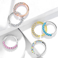 1pc Half Circle Lined Gems Bendable Hoop Ring - Septum, Daith, Ear Cartilage