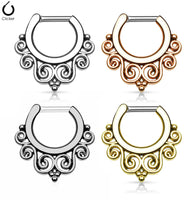 Tribal Swirls Style Septum Clicker Rings