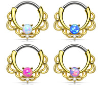 1pc Gold Lacey Single Opal Septum Clicker