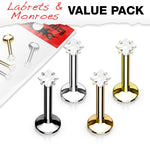 4pc Value Pack Internally Threaded Prong Set Square Gem Ion Plated Labrets