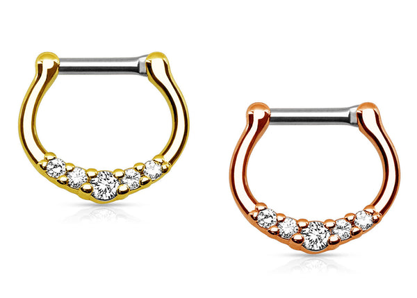 1pc Five-Gem Gold Plated Septum Clicker