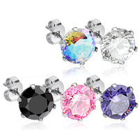 PAIR 316L SURGICAL STEEL CZ GEM STUD EARRINGS