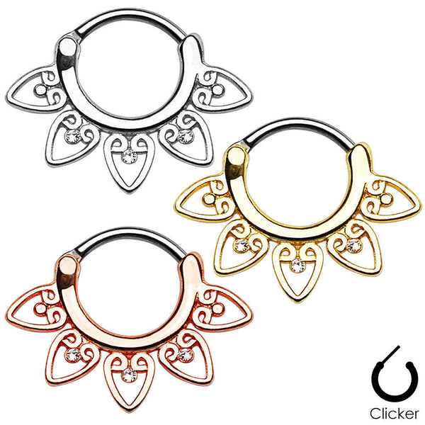Tribal Fan w/Gems Style Septum Clicker Rings