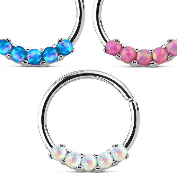 1pc Bendable Five Opal Septum / Cartilage Ring