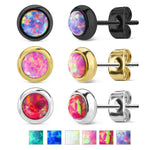 Bezel Set Opal 316L Surgical Steel Earrings
