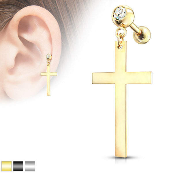 "1pc Cross Dangle Tragus Stud Helix Cartilage Ring 16g 1/4""- choose your color"