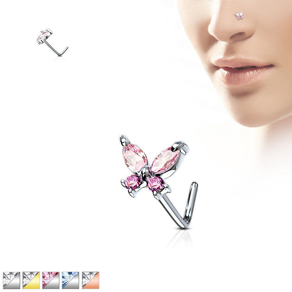 1pc CZ Gem Butterfly L-Bend 20g Nose Ring