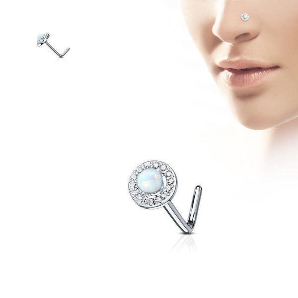 1pc CZ Gem Circle w/ Opal Dome Center L-Bend 20g Nose Ring