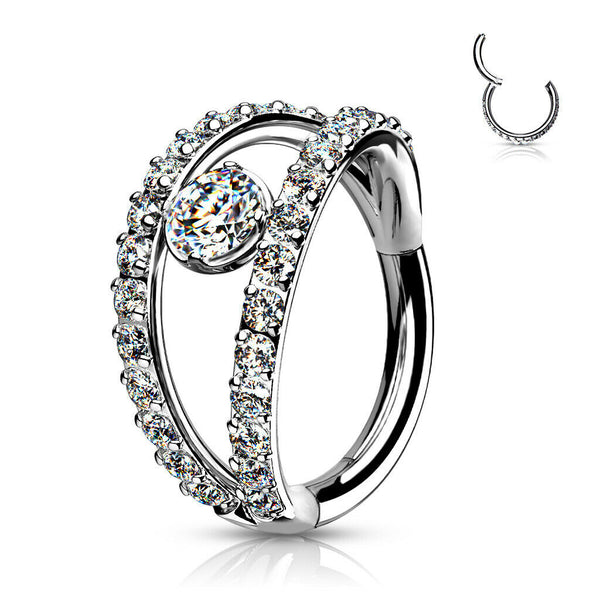 1pc Double Hoop CZ Gem Hinged Segment Ring 16g Helix Orbital Clicker