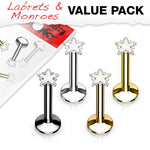 4pc Value Pack Internally Threaded Prong Set Star Gem Ion Plated Labrets