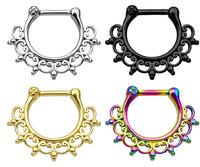 1pc 100% SURGICAL STEEL Lace Tribal Fan Septum Ring Clicker