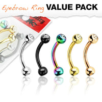 5pc Value Pack Five Colors Ion Plated Steel Gem Eyebrow Rings 16g Body Jewelry