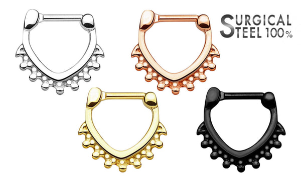 1pc 100% SURGICAL STEEL Beaded Triangle Shape Septum Clicker