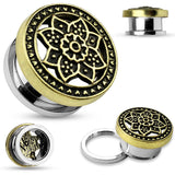 PAIR Tribal Lotus Top Steel Screw Fit Tunnels Plugs