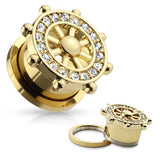 PAIR Gold or Steel Yacht Ship Wheel Gem Paved Tunnels Plugs
