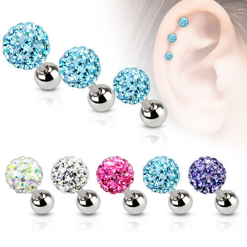 1pc Ferido Gem Ball Tragus Ring 16g, 1/4""