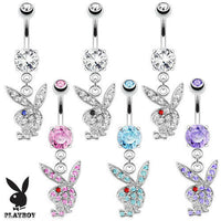 Playboy Bunny Dangle Belly Ring Paved CZ Gems Pierced Navel Naval Sexy