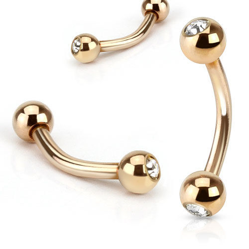 1pc Rose Gold Plated Gem Ball 16g Curved Barbell Eyebrow Ring