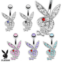 Playboy Bunny Belly Ring Pierced Navel Paved CZ Gem Sexy