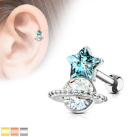1pc Crystal Star & Saturn Planet Tragus Ring 16g 1/4""