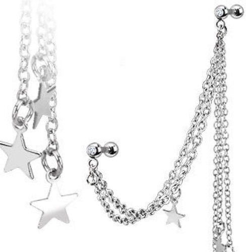 1pc Chain Linked Stars Ring with Cartilage/Tragus/Helix Barbell