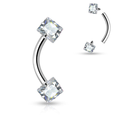 1pc Square Gem Internally Threaded Curved Barbell 16g Eyebrow Ring