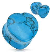 PAIR Heart Shaped Turquoise Stone Plugs