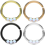 1pc Bendable Three Opal Septum / Cartilage Ring