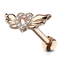1pc CZ Gem Paved Heart w/ Wings Tragus Ring 16g 1/4""
