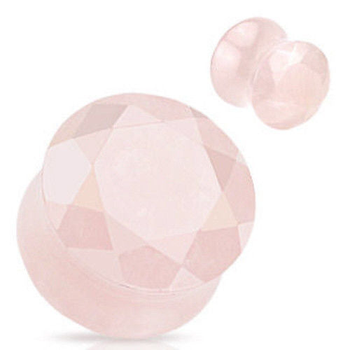 PAIR Faceted Rose Quartz Stone Plugs