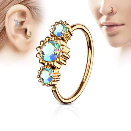 1pc Rose Gold Three CZ Gem Hoop Nose / Cartilage Ring